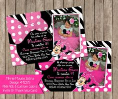 Any Age  Minnie Mouse Zebra Clubhouse by PeriwinklePapery on Etsy