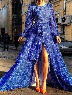 Choies Limited Edition Blue Star Print Slit Maxi Dress | Choies