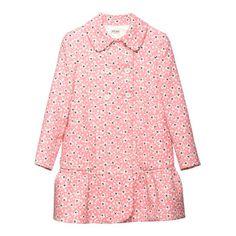 Miu Miu pink print double gabardine double-breasted straight coat with tulip hem