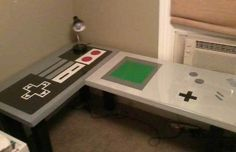Nintendo Desk - 25 Pieces Of Cool Video Game Inspired Furniture | Complex I approve of this work space for my computer desk!
