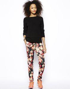 Floral pants w black knit