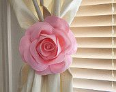 One Rose Flower Curtain Tie Backs Curtain Tiebacks Curtain Holdback -Drapery Tieback-Baby Nursery Decor-Light Pink Decor from BedBuggs Boutique. Felt Flowers, Fabric Flowers, Paper Flowers, Light Pink Rose, Pink Rose Flower, Cortina Floral, Coral Home Decor, Rose Curtains, Navy Curtains