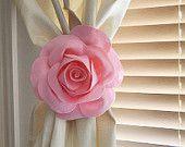 TWO Rose Flower Curtain Tie Backs Curtain Tiebacks Curtain Holdback -Drapery Tieback-Baby Nursery Decor-Light Pink Decor
