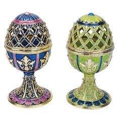 Design Toscano Jeweled Trellis Faberge - Style Enameled Egg (Set of 2)