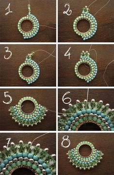 brick stitch DIY, Free tutorial Earrings or pendant Fourth Round and Finishing // brick stitch Earring tutorial {in Russian - will need translating} ******Brick Stitch on a Component Sunburst tutorial- looks quite easy. part 2 of legendary beads sunburst Seed Bead Tutorials, Jewelry Making Tutorials, Free Beading Tutorials, Seed Bead Jewelry, Bead Jewellery, Seed Beads, Beading Jewelry, Jewelery, Beaded Jewelry Patterns