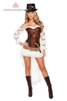 7pc Sexy Steampunk Babe Costume Halloween Costume