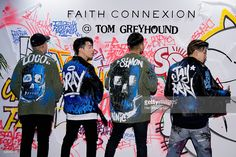 South Korean siners Loco, GRAY, Simon Dominic of boy band Supreme Team and Park Jae-Bum (Park Jay, Jay Park) attend the photocall for 'Tom GreyHound' Launch on April 28, 2016 in Seoul, South Korea.