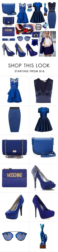 """royal blue"" by beanpod ❤ liked on Polyvore featuring Arca, Dorothy Perkins, L'Agence, WearAll, Lattori, Chanel, Mansur Gavriel, Moschino, Fabulicious and Qupid"