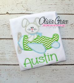 Boys Easter Shirt, Bunny Flying Airplane, Embroidered Applique Shirt or Bodysuit
