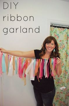DIY ribbon garland in pink + turquoise + gold; via www.thesweetestdigs.com