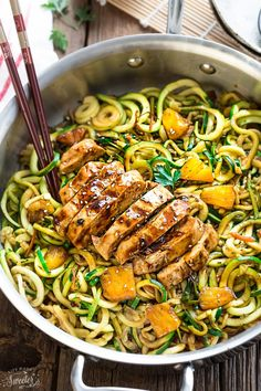 One Pan Teriyaki Chicken Zoodles {Zucchini Noodles}