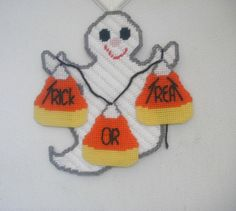 Plastic Canvas Halloween Ghost Hangup by DStullsCreations on Etsy