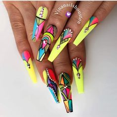 we compare more than 200 gorgeous coffin nails with stiletto nails.In the spark of the contrastive collision of these gifted nail creations, Rave Nails, Neon Nails, Bling Nails, Swag Nails, My Nails, Neon Nail Art, Crazy Nail Art, Stiletto Nail Art, Coffin Nails