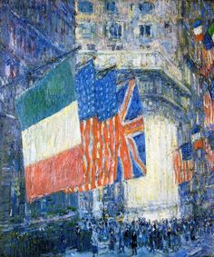 Gorgeous art (@great_artwork) | Twitter Avenue of the Allies (aka Flags on the Waldorf) Childe Hassam (1917)