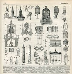 Lighthouses Architecture Lights Inner Workings French Antique Print Nouveau Larousse Late 1800's to Early 1900's