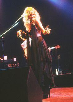 Stevie Nicks wearing a long black chiffon skirt