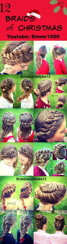 12  festive Christmas Hairstyles and Braids perfect for the holiday season! Some DIY Christmas Ideas. Perfect Braids and updos for special occasions.