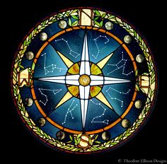 Stained glass compass window by Theodore Ellison Designs