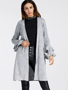 I MAY Have Found my new favorite modest clothing company!! AFFORDABLE!!Tiered Frill Sleeve Marled Knit Cardigan