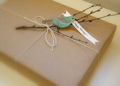 Cute wrapping idea-bird/twigs