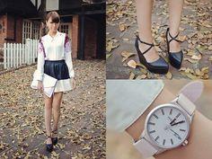 Fashion Cookie Shoe Avenue Wedges, Haurex Watch, Romwe Skirt, Choies Top, Satchi Store Clutch