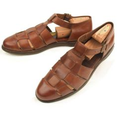 d0a25ece1 Cole Haan Fisherman Sandals 12 M Mens Woven Leather Buckle Shoes Brown