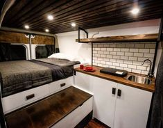 Adorable Wood Interior Ideas For Sprinter Van Camper, Volkswagen campers stick out from the crowd. A Sprinter van camper is readily the most flexible type of Sprinter RV. Our very last RV had one small ba. Van Conversion Interior, Cargo Trailer Conversion, Conversion Van, Sprinter Van Conversion, Converted Cargo Trailer, Converted Van Campers, Campervan Conversions Layout, Van Conversion Kitchen, Transit Camper Conversion