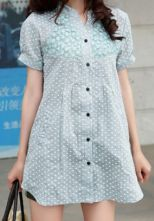 Green Embroidery Short Sleeve Heart Swiss Pocket Side Blouse $33.44