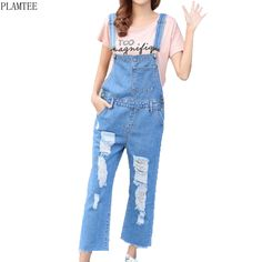 134aea039c1 PLAMTEE Ripped Holes Jumpsuits For Women 2017 Vogue Loose Washed Jeans  Overalls Vintage Casual Sleeveless Salopette Femme S~XL-in Jumpsuits from  Women s ...
