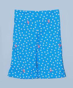 Loving this Blue Polka Dot Flamingo Capri Pants - Toddler & Girls on #zulily! #zulilyfinds