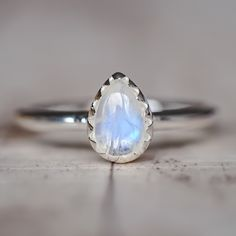 Moonstone Droplet Ring | Bohemian Gypsy Jewels | Indie and Harper
