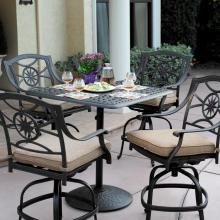 Darlee Ten Star 5 Piece Cast Aluminum Counter Height Patio Bar Set With Swivel Stools Ultimate