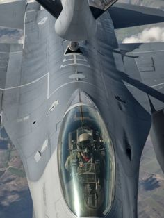 A U.S. Air Force F-16C Fighting Falcon Receives In-Flight Refueling