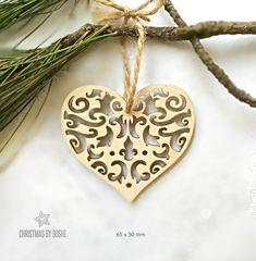 Awesome laser cut Heart Christmas tree ornament / Christmas decorations / Christmas ornaments / Heart decor / Heart ornament / Laser cutting by DosheEcoDecorCharms on Etsy