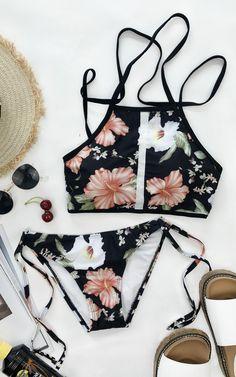 $19.99 Chicnico Vintage Floral Print Tie Side Tank Bikini Set