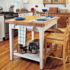 How to build a kitchen island with a butcher-block surface, complete directions for about $500.00!