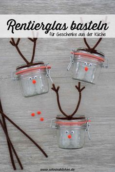 DIY reindeer glass for gifts from the kitchen or as a gift for Christmas - DIY reindeer jar for Christmas. A nice craft idea for gift wrapping for gifts from the kitchen or a - Diy Christmas Reindeer, Christmas Gifts, Xmas, Diy Kitchen Projects, Frame Crafts, Reno, Diy Box, Diy Weihnachten, Diy Table