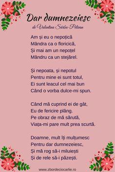 Poezii romanesti de suflet, poezii nepoti si nepotele, Poezii de Valentina Sarbu-Pelivan Kids Poems, Living, Hipster Stuff, Poems For Children