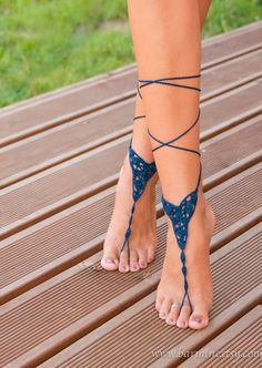 Crochet Navy Blue Barefoot Sandal, Foot jewelry barefoot sandal, Lace Up Sandals, Beach wedding barefoot sandals, Bridal barefoot sandals by barmine on Etsy