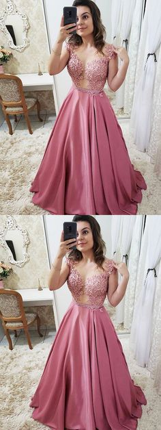 Gorgeous Ball Gown Round Neck Open Back Rose Red Satin Lace Long Prom Dresses, Elegant Evening Dresses, Shop plus-sized prom dresses for curvy figures and plus-size party dresses. Ball gowns for prom in plus sizes and short plus-sized prom dresses for Formal Dresses With Sleeves, Gold Prom Dresses, Ball Dresses, Homecoming Dresses, Ball Gowns, Dress Prom, Dress Formal, Bridesmaid Dress, Party Dresses