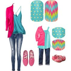 """MINI POLKA & TROPICAL MIRAGE Jamberry Mommy and Me"" by kspantonjamon on Polyvore http://thegingerjammer.jamberry.com"
