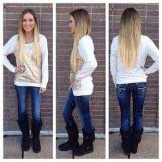 Sequin Sweatshirt Jeans and Boots