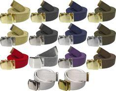 """Army Belts Color 100% Cotton Canvas Military 54"""" Long Web Belt"""