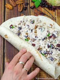 Chicken, Cranberry, Pecan Salad Wraps - a super lunch or wonderful addition! This salad is perfect for any occasion and very easy to make. Chicken, Cranberry, Pecan Salad Wraps - delicious and satisfying! Salat Wraps, Healthy Snacks, Healthy Recipes, Dinner Healthy, Easy Healthy Appetizers, Healthy Pinwheels, Pinwheels Food, Summer Appetizer Recipes, Tortilla Pinwheels