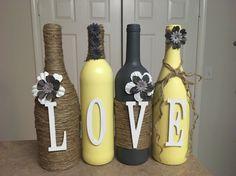 Wine bottle decor by lovetammyscrafts on Etsy Liquor Bottle Crafts, Wine Bottle Corks, Liquor Bottles, Wrapped Wine Bottles, Wine Bottle Design, Decoupage, Painted Wine Bottles, Wine Decor, Bottle Painting