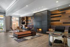 Wandgestaltung Dekorative Paneele Stein Optik Kaminofen Wohnzimmer