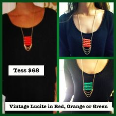 Tess necklace: vintage lucite on 18k gold plated chain