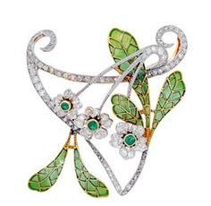 Art nouveau plique-a-jour enamel brooch set  with diamonds and emeralds, circa 1905