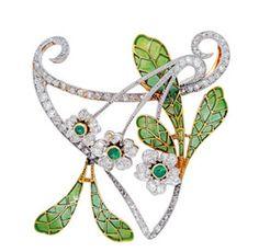 Art nouveau plique-a-jour enamel brooch set  with diamonds and emeralds, circa 1905