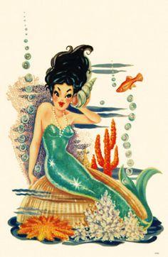 Mermaid on Shell Masterprint